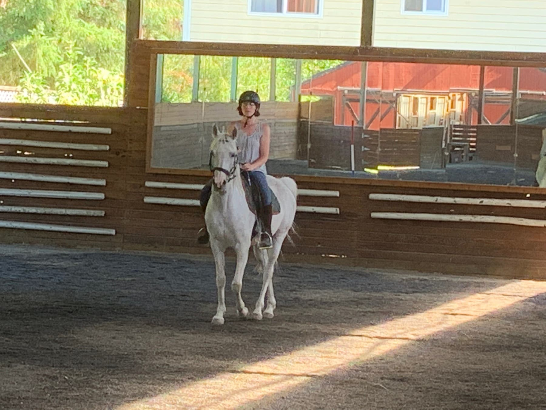 Suz riding at the National School of Academic Equitation
